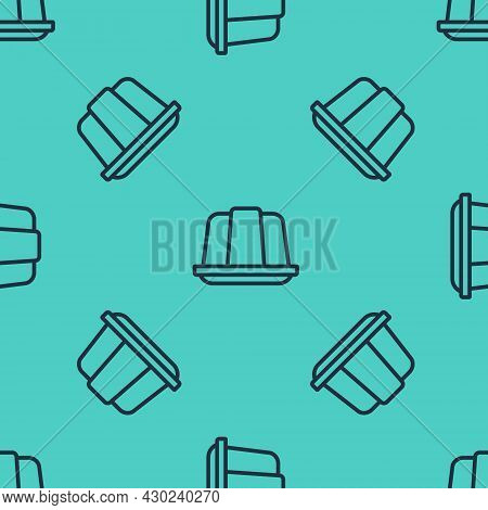 Black Line Jelly Cake Icon Isolated Seamless Pattern On Green Background. Jelly Pudding. Vector