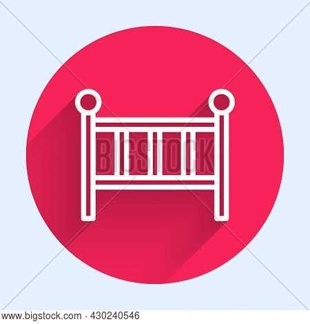 White Line Baby Crib Cradle Bed Icon Isolated With Long Shadow Background. Red Circle Button. Vector