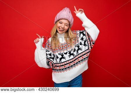 Photo Of Young Positive Happy Attractive Blonde Woman With Sincere Emotions Wearing Pink Knitted Hat