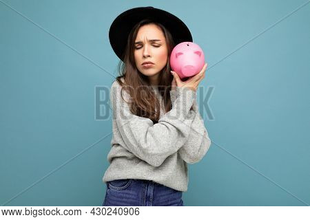 Portrait Of Dissatsfied Sad Young Beautiful Charming Brunette Woman With Sincere Emotions Wearing Gr