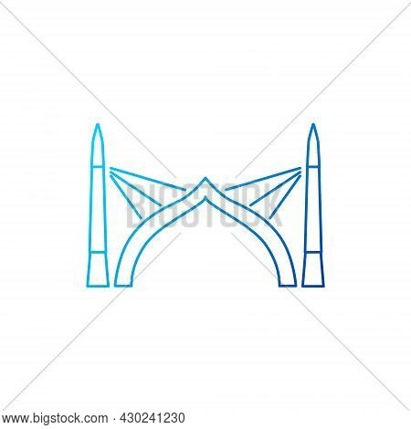 Sinamale Bridge Outline Icon. China Maldives Friendship Bridge The First Cross Sea Bridge. Isolated