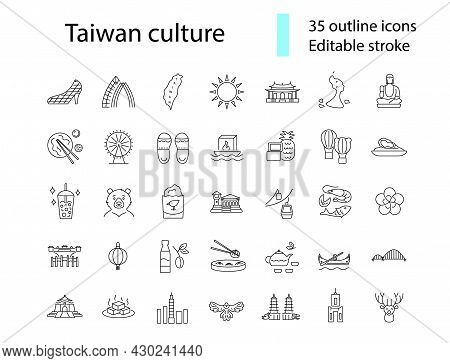 Taiwanese Style Culture Outline Icons Set. Asian Attractions. Oriental Specialty Of Taiwan. Customiz