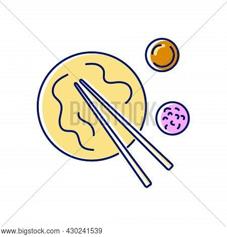 Taiwanese Niu Rou Mian Flat Icon. Taiwan. Chinese Beef Noodles With Food Sticks And Sauce. Asian Ite