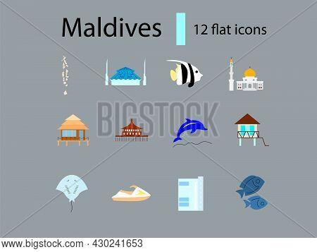 Maldives Culture Flat Icons Set. Tourism Concept. Tropical Resort. Famous Water Bungalows. Marine Li