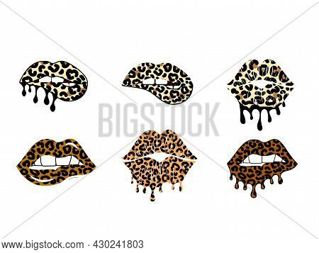 Kissing And Biting Lips With Leopard Print Collection. Dripping Paint. Cheetah Design. Isolated Vect