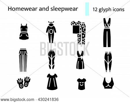 Cozy Pink Homewear And Sleepwear Glyph Icons Set. Comfortable Clothes. Nightshirt And Nightie, Pajam