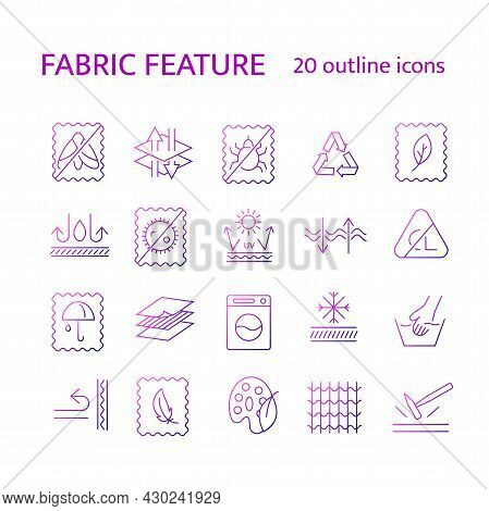 Fabric Quality Outline Icons Set. Mole Protecction, Windproof, Sun Screen. Textile Industry. Differe