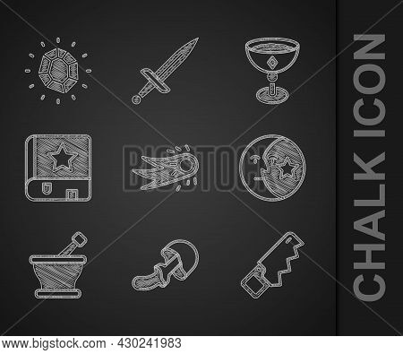 Set Fireball, Psilocybin Mushroom, Hand Saw, Moon Stars, Mortar Pestle, Ancient Magic Book, Medieval
