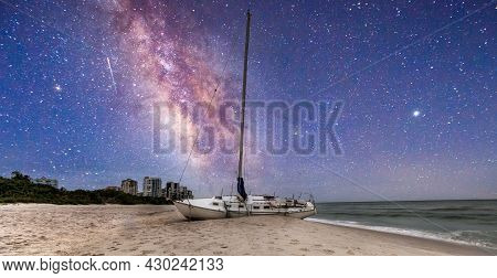 Milky Way In The Night Sky Over A Shipwreck Off The Coast Of Clam Pass In Naples, Florida