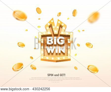 Big Win Prize Gift Box With Golden Retro Board Sign Vector Illustration. Winning Celebration With Co