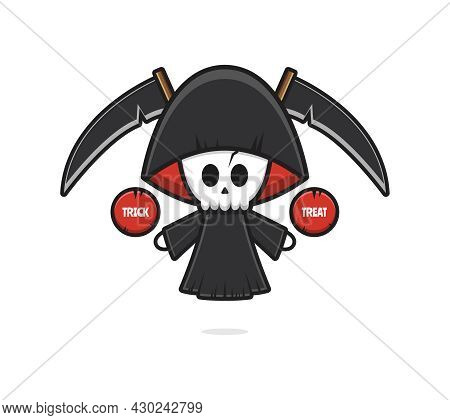 Cute Grim Reaper Halloween Give Trick Or Treat Cartoon Icon Illustration. Design Isolated Flat Carto