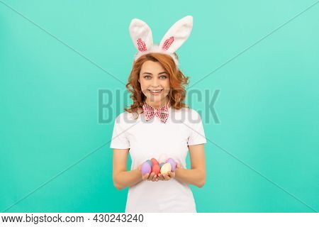 Happy Redhead Girl In Bunny Rabbit Ears With Painted Eggs, Easter Bunny