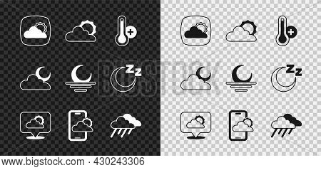 Set Weather Forecast, Sun And Cloud Weather, Meteorology Thermometer, Location, Cloud With Rain, Moo