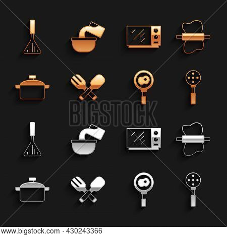 Set Crossed Fork And Spoon, Rolling Pin Dough, Spatula, Fried Eggs Frying Pan, Cooking Pot, Microwav