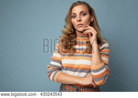 Photo Portrait Of Young Pretty Beautiful Sexy Thoughtful Blonde Woman Wearing Stylish Colourful Stri