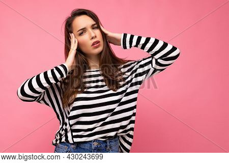 Photo Of Young Sad Upset Tired Nice Cute Brunette Woman With Sincere Emotions Wearing Casual Striped