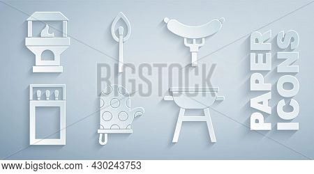 Set Oven Glove, Sausage On The Fork, Matchbox And Matches, Barbecue Grill, Burning With Fire And Bri