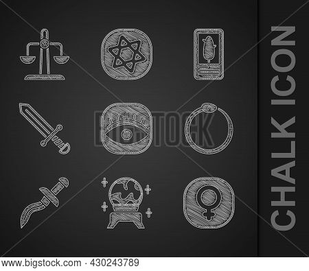 Set Masons, Magic Ball, Venus, Ouroboros, Dagger, Medieval Sword, Tarot Cards And Libra Zodiac Icon.