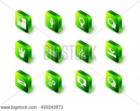 Set Award Cup, Location With Bowling Ball, Bowling, Billiard, Balls Rack Triangle, And Icon. Vector