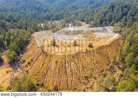 Mining Stock Piles At Abandoned Site Of Copper Mine In Paphos Forest, Cyprus. Aerial View