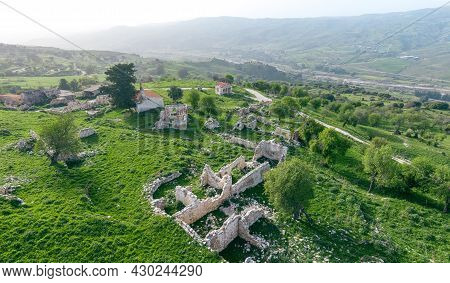 Abandoned Landscape, Aerial View Of Traditional Village In Paphos Area, Cyprus