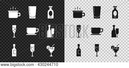 Set Coffee Cup, Glass With Water, Alcohol Drink Rum, Champagne Bottle, Champagne, Cocktail, And Icon