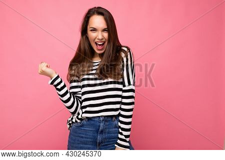 Portrait Of Young Emotional Positive Happy Nice Cute Brunette Woman With Sincere Emotions In Casual