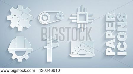 Set Calliper Or Caliper And Scale, Processor With Microcircuits Cpu, Worker Safety Helmet Gear, Lapt