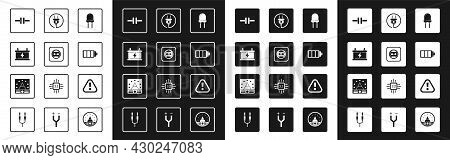 Set Light Emitting Diode, Electrical Outlet, Car Battery, Circuit Scheme, Battery Charge Level Indic