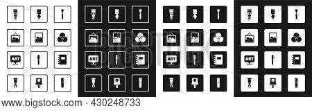 Set Paint Brush, Graphic Tablet, Picture Landscape, Tube With Paint Palette, Rgb Cmyk Color Mixing,