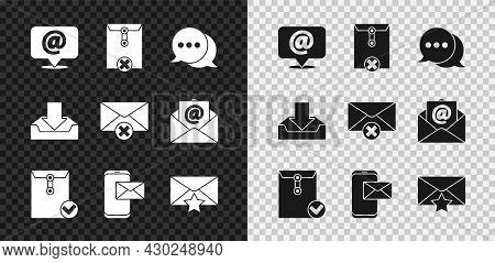 Set Mail And E-mail On Speech Bubble, Delete Envelope, Speech Chat, Envelope Check Mark, Mobile, Wit