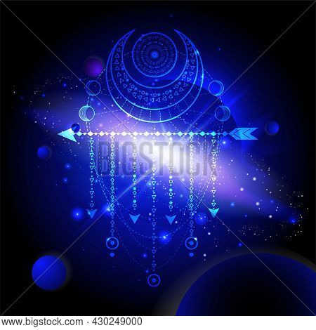 Vector Illustration Of Sacred Or Mystic Symbol Against The Space Background With Planets And Stars.