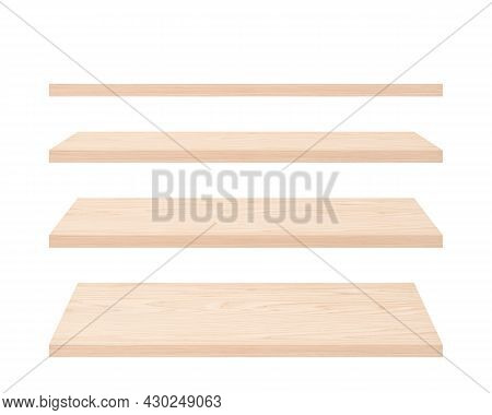 Set Of Wood Planks Isolated On White. Empty Wood Shelves With Natural Pattern. Light Wood Boards