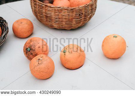 Wooden Basket Of Orange Fruits On White Table With Orange Farm Background. Home Gardening. Mandarine