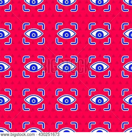 Blue Eye Scan Icon Isolated Seamless Pattern On Red Background. Scanning Eye. Security Check Symbol.