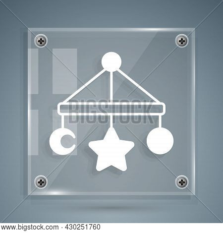 White Baby Crib Hanging Toys Icon Isolated On Grey Background. Baby Bed Carousel. Square Glass Panel