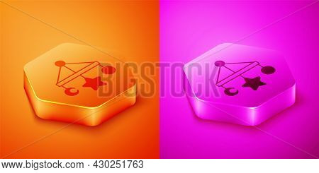 Isometric Baby Crib Hanging Toys Icon Isolated On Orange And Pink Background. Baby Bed Carousel. Hex