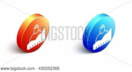 Isometric Growth Of Homeless Icon Isolated On White Background. Homelessness Problem. Orange And Blu