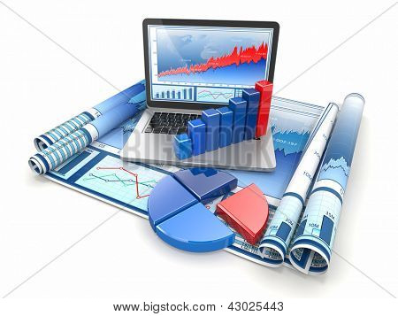 Business analyze. Laptop, graph and diagram. 3d poster