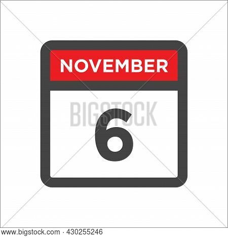 November 6 Calendar Icon W Day Of Month