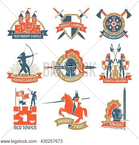 Historical And Fairy Heraldic Emblems And Logos Set With Knights Towers And Archers Flat Isolated Ve