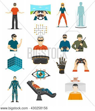 Virtual Reality Video Games Icons Set With Joystick In People Hands Wired Gloves Augmented Reality G