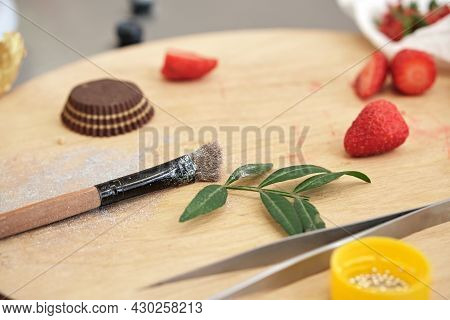 Pastry Chefs Palette Board For Final Decoration Of Of Pastries, Cakes And Desserts. Cake Making Proc