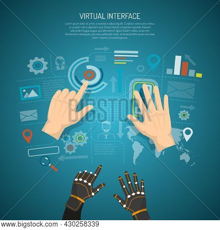 Virtual Interface Design Concept With Man Hands And Wired Gloves Transmitting Tactile Sensation Flat