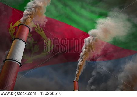 Pollution Fight In Eritrea Concept - Industrial 3d Illustration Of Two Huge Industry Chimneys With D