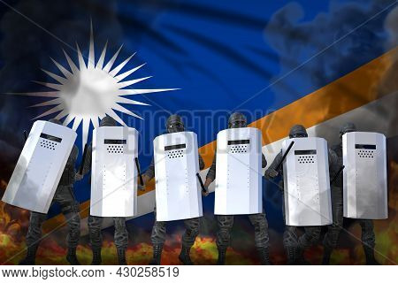 Marshall Islands Protest Fighting Concept, Police Swat In Heavy Smoke And Fire Protecting Government