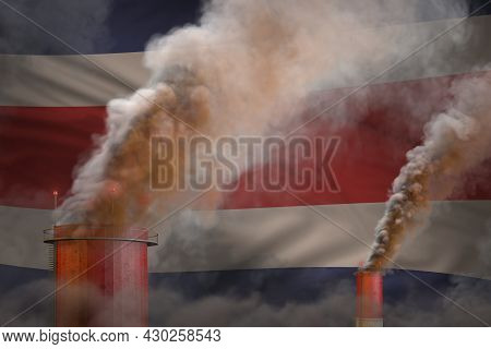Heavy Smoke Of Plant Chimneys On Costa Rica Flag - Global Warming Concept, Background With Place For