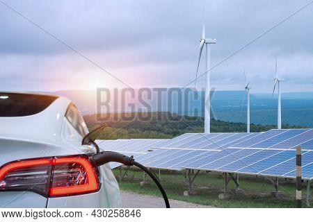 Ev Car Or Electric Power Car And Solar Cells For Electricity Generation,plug Of Power Cable Electric