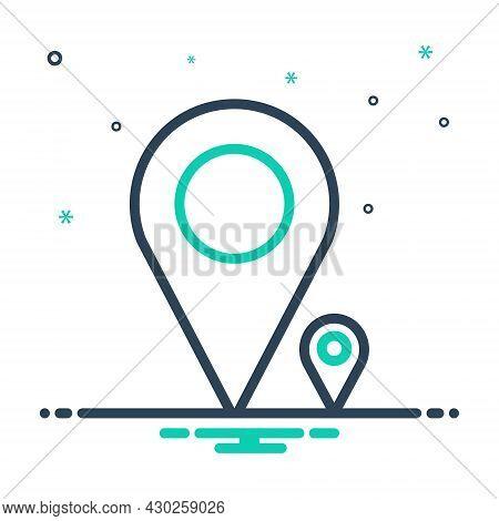 Mix Icon For Massive Extensive Enormous Mark Place Gps Navigation Destination Sign Location-pin Venu