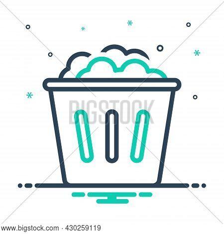 Mix Icon For Used Dump Household Garbage Bin Dustbin Trash-cans Rubbish Basket Wastebasket Debris